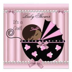 African American Baby Shower Girl Pink Invite from Zizzago.com