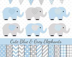 Blue Elephant Clip Art Blue Grey Elephants Clipart Blue Digital Paper Baby Shower Clipart Nursery Art