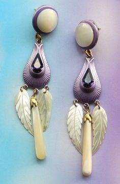 Vintage Mother Of Pearl And Purple Rhinestones Earrings