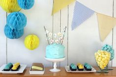 1 year Birthday Party - Blue and Yellow