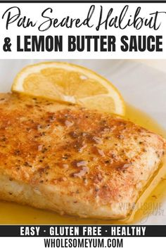 seared halibut recipe with lemon butter sauce takes just 20 minutes... which you'd never guess with how fancy pan fried halibut looks. I'll show you how to pan sear halibut, plus how to make the perfect sauce for halibut. #wholesomeyum Low Carb Recipes, Baking Recipes, Healthy Recipes, Ketogenic Recipes, Pescatarian Recipes, Fast Recipes, Pan Seared Halibut Recipes, Best Halibut Recipes, Pan Fried Haddock Recipes