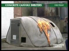 Concrete Canvas Shelters  - Amazing 2 minute video. Inflatable, spray with water and they become hardened within 24 hours, and they are fire resistant too!