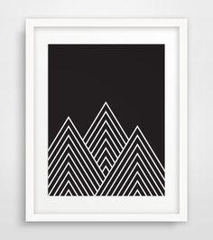 Black Mountains Geometric Mountains Dark by MelindaWoodDesigns #blackandwhite #homedecor