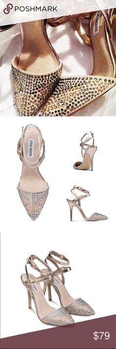 "Steve Madden 'Porttt-R' Rhinestone Pump -Glittery rhinestones embellish an almond-toe pump styled with a duo of slender metallic ankle straps. -4 1/2"" heel (size 8.5). -Adjustable straps with buckle closures. -Synthetic and textile upper/synthetic and leather lining/synthetic sole. -Pre-owned in great condition, minor scuffing on the back heel and normal wear on the bottom. Worn less than two times. Steve Madden Shoes Heels"