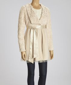 Take a look at this Beige Rosette Beaded Collar Jacket by Ryu on #zulily today!