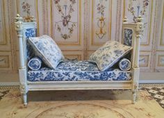 Marie Antoinette French Style Daybed Miniature by FrenchVellum