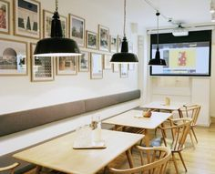 Monocle Cafe - The downstairs with vintage Ercol chairs and tables from local store, Century