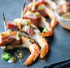 Grilled #Shrimp  Ham Skewers with Apple Jelly #recipe