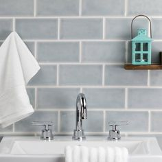 Nabi Arctic Blue Ceramic Tile - Wall Only Blue Subway Tile, Ceramic Subway Tile, Glass Ceramic, Blue Tiles, White Tiles, Dark Blue Bathrooms, Small Bathrooms, Accent Wall In Kitchen, Crackle Glass
