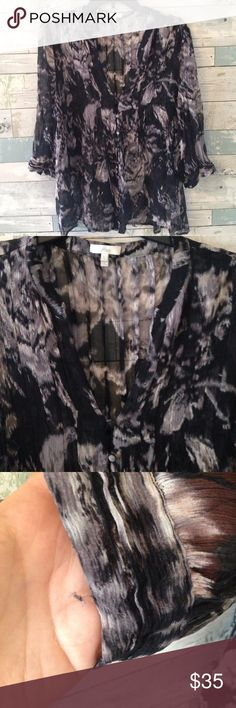 🎀🛍JOIE floral graphic sheer silk blouse stunning Beautiful sheer JOIE blouse is good pre-owned condition. 100% silk; buttons in front are covered in the same floral / graphic fabric as the blouse. 3/4 sleeve, flowy, delicate, sheet. ➡️ Has a few loose threads throughout, not very visible; they don't affect the overall look of the blouse, see pictures for details. ➡️ Purchased used and worn twice. Ask questions; all sales are final. 🚫Smoke-free. 🚫NO TRADES. Joie Tops Blouses