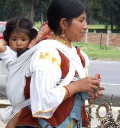Ecuadorean woman wearing her baby