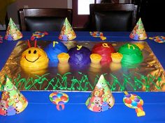 Baby Einstein birthday party - Caterpillar cake made with Wilton's sports ball cake pan. Use one half of the ball to create each section. Baby Einstein Party, Caterpillar Cake, 1st Birthday Parties, Birthday Ideas, Party Themes, Party Ideas, Baby Party, How To Make Cake, Party Planning