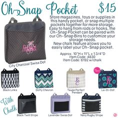 Oh-Snap Pocket by Thirty-One. Fall/Winter 2016. Click to order. Join my VIP Facebook Page at https://www.facebook.com/groups/1603655576518592/