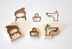 Hand Carved Rubber Stamp / set of 3 / Red Riding Hood