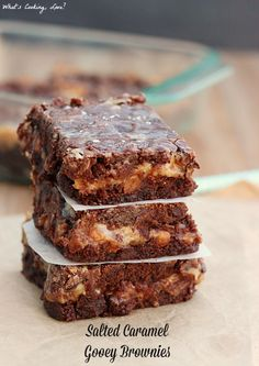 Salted Caramel Gooey Brownies. Easy Ooey gooey brownies that are stuffed with salted caramel.