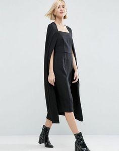 Vestido midi  con detalle de capa texturizada de ASOS WHITE