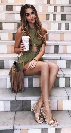 #fall #outfits ·  Green Dress + Shoulder Bag