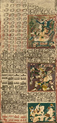 The only currently deciphered complete writing system in the Americas is the Maya scroll. The Maya, along with several other cultures in Mesoamerica, constructed concertina-style books written on Amatl paper. File:Dresden codex, page Ancient Aliens, Ancient History, Maya Civilization, Arte Tribal, Mesoamerican, Inca, Ancient Artifacts, Ancient Civilizations, Dibujo