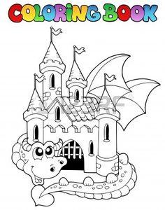 kostenlose malvorlage märchen: kostenlose malvorlage: fliegender drache vor einem schloss zum