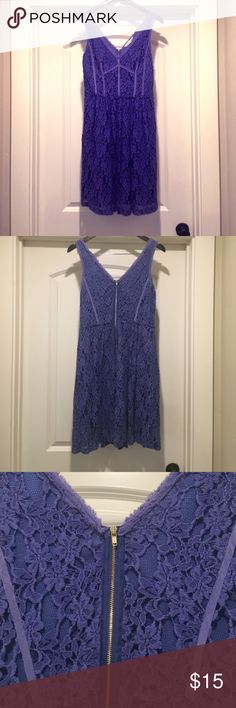 Rebecca Taylor Dress Rebecca Taylor dress size 6 purple lace with back zipper detail. This dress was a rental dress from Rent the Runway. It is in good condition but does have wear so be mindful that the price reflects. Rebecca Taylor Dresses