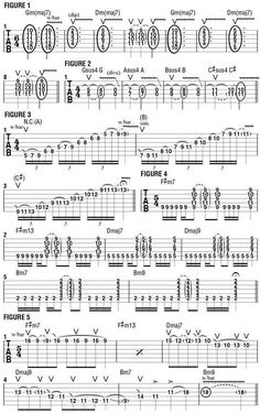 """This month, I'd like to demonstrate some ways in which I like to utilize my guitar's whammy bar in the music of Revocation. I often use the bar to """"color"""" chord patterns and to give single-note lines different and unusual textures. Jazz Guitar, Music Guitar, Guitar Chords, Online Guitar Lessons, Music Lessons, Guitar Chord Progressions, Music Institute, Guitar Exercises, Guitar Scales"""