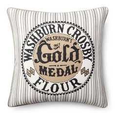 Gold Medal Flour Throw Pillow - Grey (20x20) - The Industrial Shop™