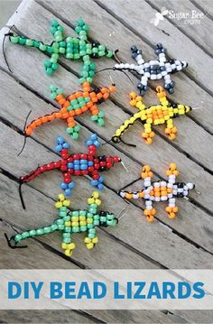 These DIY Bead Lizards are an easy kids' craft they can customize with their favorite colors and decorate their rooms with! It's a great rainy day activity that'll chase boredom away too.