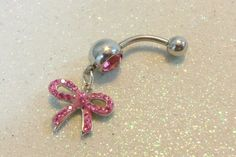 Bellybutton ring w pink crystal bow dangle charm 14 gauge | YOUniqueDZigns - Jewelry on ArtFire