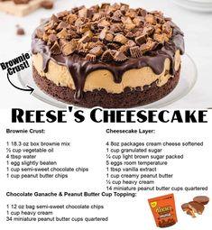 Peanut Butter Cup Cheesecake, Peanut Butter Chips, Reeses Peanut Butter, Cheesecake Recipes, Dessert Recipes, Reese Cheesecake, Cheesecake Brownies, Creamy Peanut Butter, Chocolate Cheesecake