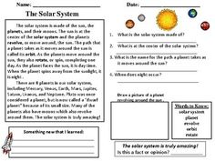 Free sample from : Solar System Reading Comprehension Passages Includes reading passages, vocabulary, questions, and reading skills.