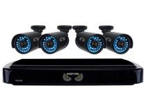 Night Owl - 4-Channel, 4-Camera Indoor/Outdoor DVR Security System - Black - Larger Front