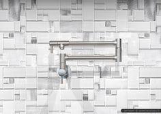 Modern White Kitchen Backsplash modern espresso #kitchen cabinet with white glass metal