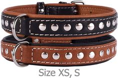 CollarDirect Handmade Studded Dog Collar, Genuine Leather Collar for Dogs, Soft Padded Leather Puppy Collar Brown Black Small Medium *** Be sure to check out this awesome product. (This is an affiliate link) #MyPet