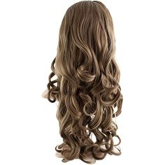 Eva Long Loose Curls Half-Head Wig In #18H24 Harvest Blonde (510 ARS) ❤ liked on Polyvore featuring beauty products, haircare, hair styling tools and hair