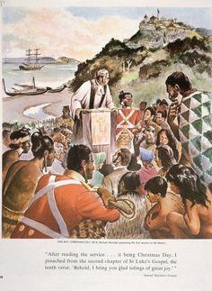 Morgan, Jack : Oihi Bay, Christmas Day Samuel Marsden preaching the first sermon to Maori Polynesian People, Polynesian Culture, Maori Words, Sermon Illustrations, Maori Designs, Nz Art, Maori Art, Folk Music, Christmas Wishes