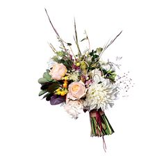 Brides.com: The Prettiest Wedding Bouquets of the Year. A Rustic Wedding Bouquet with Dahlias. Decamping to the Rockies for your wedding? Consider this utterly woodsy, yet still gorgeous, bouquet.  Garden rose, dahlia, Russian olive, smokebush, and wildgrass wedding bouquet, Fox Fodder Farm  See more dahlia wedding flowers.