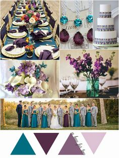 Teal, Eggplant and Lavender Wedding Colors - Wedding Colour Scheme - A Hue For Two