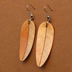 Wooden feather earrings.