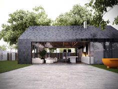 Modern barn stye home makes perfect guest/pool house Hd House, Tiny House, Architecture Résidentielle, Modern Barn House, Casas Containers, Cabana, Exterior Design, Urban Village, Lap Pools