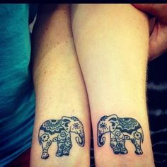 40 Forever Matching Tattoo Ideas For Best Friends (21). I like the elephants. Foot mandala. And paint brush strokes