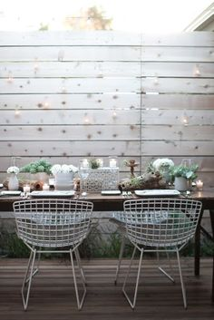 "White washed fence, table setting, chairs...  JL DESIGNS: an organic ""desert retro"" tablescape for 944 magazine"