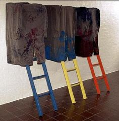 Don Driver. Medium:      tea chest, overcoat, ladder  Accession Number:      1982/29  Credit:      Auckland Art Gallery Toi o Tāmaki, gift of the artist, 1982