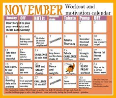 Here it is- November Workout Calendar! Go to the blog to check out the tabata Thursday videos that go along with the calendar. Here's to a productive, present, and amazing month, surrounded by those we love, filled with happiness and gratitude. | Fitnessista Workout Programs Nov Calendar, Workout Calendar, At Home Workouts For Women, Workout Routines For Women, Training Programs, Workout Programs, Tabata, Workout For Beginners, Total Body