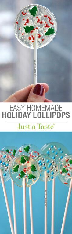 Easy Homemade Holiday Lollipops recipe via justataste.com