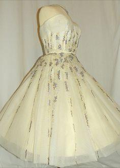 vintage 50's sequin tea length wedding dress $395