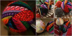 Spheres made of seeds and textiles from Guatemala, CA.  Esferas hechas de semillas y textiles de Guatemala, CA.
