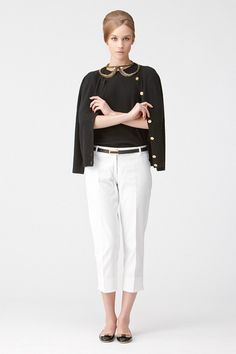 black knit & white pants