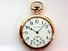 Mega Rare Antique Railroad 23J Waltham Vanguard Gold Pocket Watch Mint Serviced #Waltham