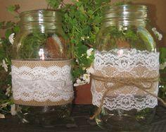 "Burlap Wedding Table Decorations | RUSTIC WEDDING DECORATIONS Burlap and Lace Mason Jar ""Sleeves"" Decor"