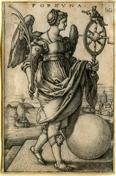 Beham, (Hans) Sebald (1500-1550):Fortuna. Engraving, allegorical figure representing Fortune, 1541. P. 143, first state of six.  Scan byYellow Lion